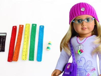 How to make AMERICAN GIRL calculator, rulers & glue  - Dollhouse DIY - Easy Doll Crafts