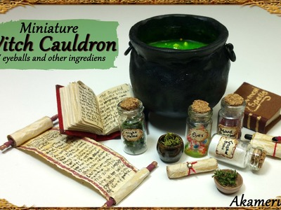 Miniature Cauldron & potion ingredients - Polymer Clay Tutorial