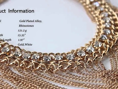 Rhinestone Drape Chain Choker Statement Necklace