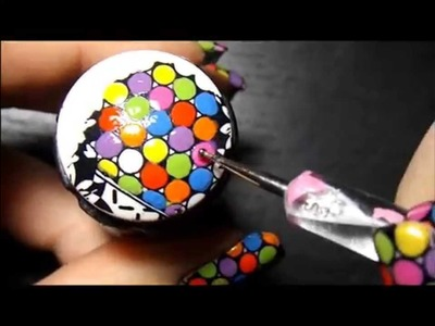 Colorful Rainbow Dots! Advance Nail Stamping Technique.