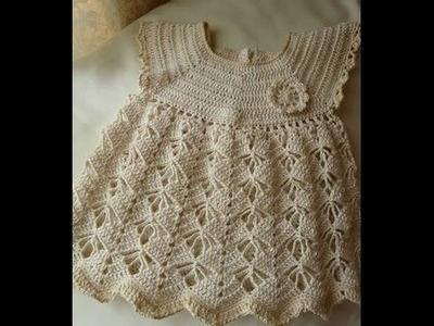 Crochet dress| How to crochet an easy shell stitch baby. girl's dress for beginners 19