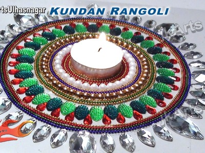 DIY Kundan Rangoli Design on OHP Sheet | How to make | JK Arts 402
