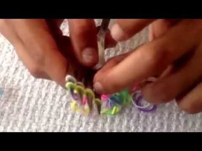 How to make hexafish loom band friendship bracelet using fork for beginners easy step by step
