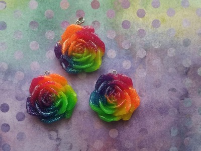 Rainbow glitter resin rose tutorial