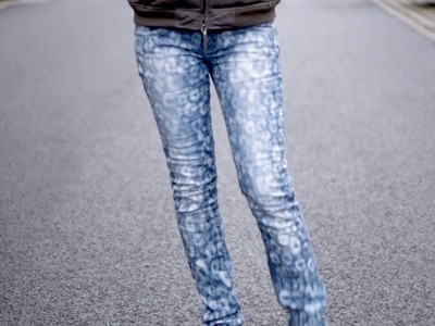 DIY bleach patterned jeans | Animal print