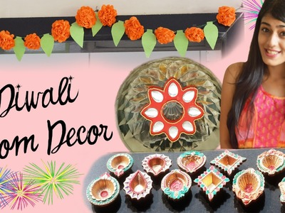 DIY Diwali Room Decor 2014 | Paper Flowers, Floating Kundan & Diyas
