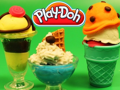 Play Doh Scoops 'n Treats DIY Ice Cream Cones, Sundaes, Playdough Sweets Confections