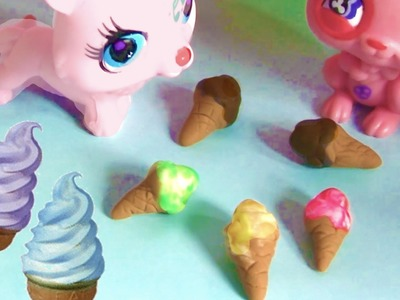Playdoh LPS Food Ice Cream Cone DIY Littlest Pet Shop Doll  Play Doh