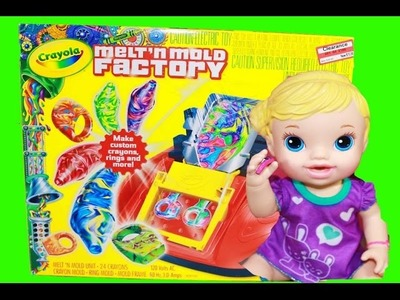 Crayola Melt N Mold Factory DIY RINGS For BABY Alive Dolls TOY FAIL Rainbow Crayon Maker Molds
