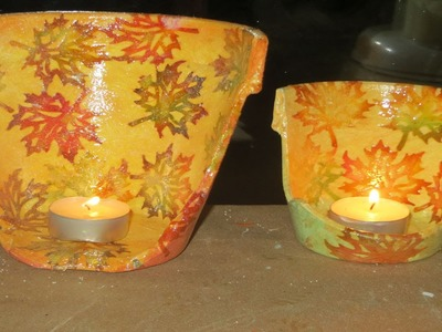 DIY Decoupage a broken Clay Pot Fall theme