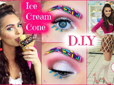 DIY Ice Cream Cone Costume for Halloween 2015! Makeup, Hair & Outfit