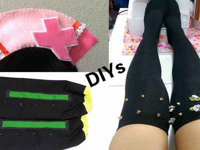 3 Halloween DIYs: DIY Hatsune Miku Nurse Headband + Kagamine Rin Arm Warmers + Spiked Thigh highs