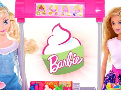Barbie Dough or Play Doh?! Arendelle Frozen Yogurt Stand with Queen Elsa - Barbie Toys by DCTC