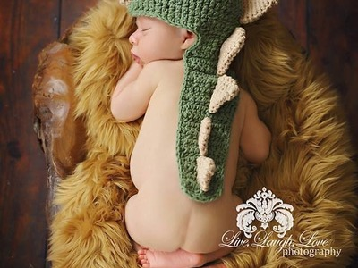 Crochet Dinosaur Cape Beanie Photo Prop Tutorial - Left Handed