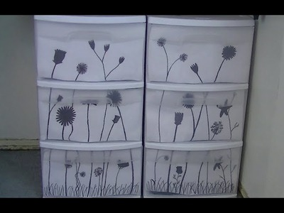 DIY Decorate Your Storage Bins Drawers with Flower Silhouettes| Brittany Gorman