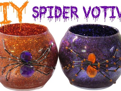 DIY Dollar Store Halloween Glitter Spider Votives Craft Project ~ Craft Klatch Halloween Series