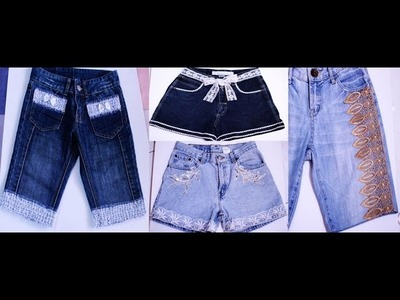 DIY Laced Trim Shorts-Recycle and Re-design Your Old Shorts-Jean- Beautyklove
