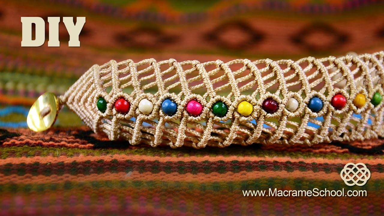 DIY Macramé Fishbone Bracelet with Beads