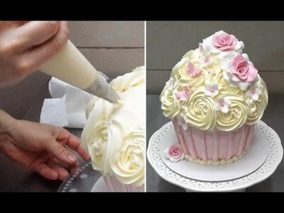 Giant Cupcake - How To Decorate.Como decorar un cupcake gigante