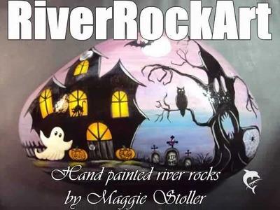 Hand painted Halloween rock
