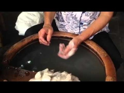 How silk is made by hand, from silkworm cocoons