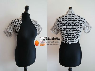 How to crochet easy bolero for beginners from one ball all sizes pattern tutorial