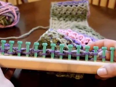 Loom Knit Flat Panel Eyelet Stitch Scarf