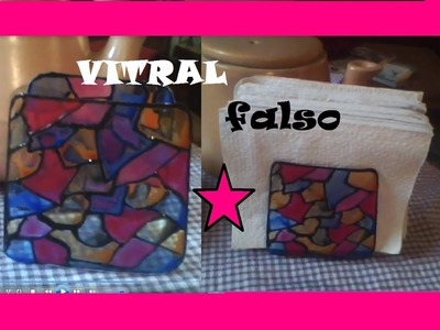 SERVILLETERO RECICLADO  VITRAL FALSO PORTA NAPKINS FAUX STAINED GLASS RECYCLED