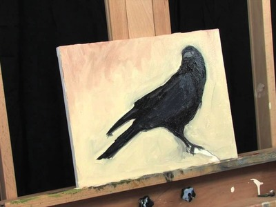 Time Lapse Crow Raven Painting Expressionist Acrylic Thick Paint Artwork by Tim Gagnon