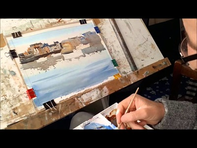Watercolour painting for beginners, boats, buildings , skies, Cornish harbours, cornwall