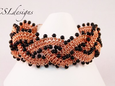 Beaded wirework braided macrame bracelet