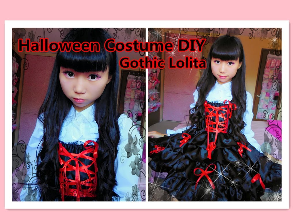 DIY Kawaii - How to restyle your old clothes to Gothic lolita dress for halloween.school
