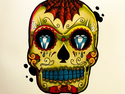 How to draw a Tattoo style Sugar Skull By thebrokenpuppet