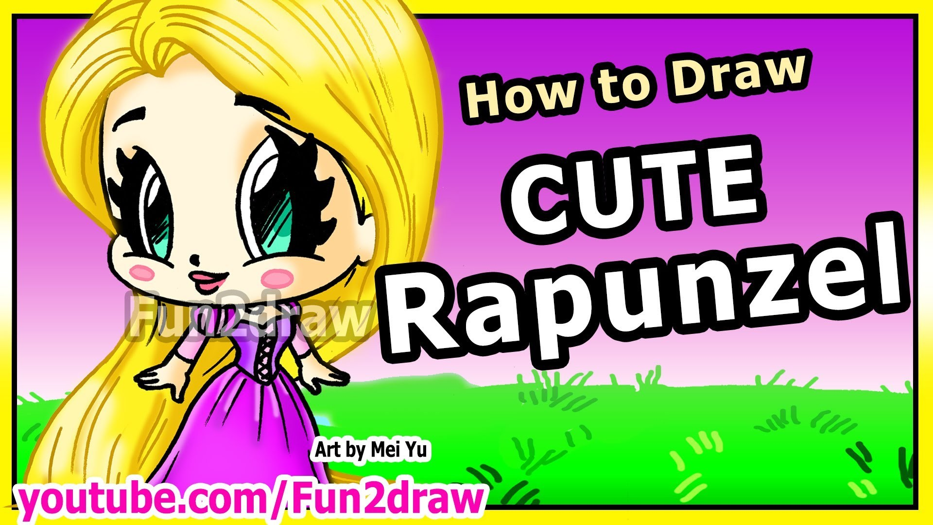 How to Draw Disney Princesses & Characters - Rapunzel from Tangled - Fun2draw Art Drawing Lessons