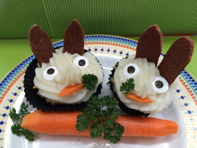 How to make EASTER BUNNY PUPCAKE SAVORY DOG CUPCAKES VEGGIE SMUGGLE - DIY Dog Food by CookingForDogs