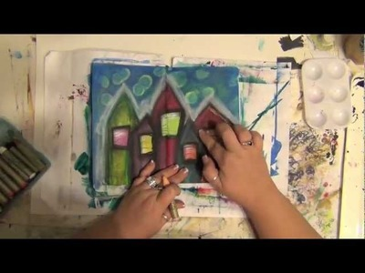 Mixed Media Art Journal Page - How-To - Acrylic Painting - Home is Where the Heart Is