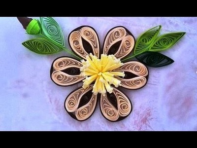 Paper Quilling  How to make Beautiful Quilling Brown.I White Flower Quilling -Paper Art Quilling