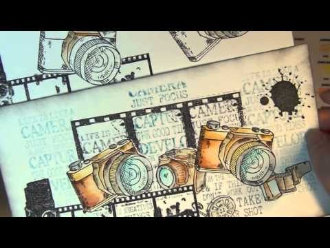 STAMPING - WATERCOLOURING AND PAPER PIECING A CAMERA IMAGE FROM VILDA STAMPS