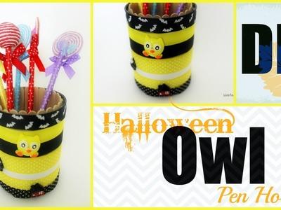 DIY Desk Decor - Owl Pen Pencil Holder (Halloween Theme)