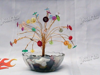 DIY How to make Wire Tree with colorful buttons - JK Arts 115