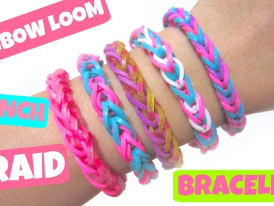 French Braid Rainbow Loom Bracelet without Loom. using 2 Pencils.