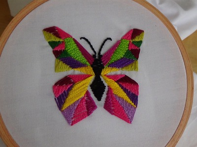 Hand Embroidery: Satin, Straight, Herringbone Stitch (Butterfly)