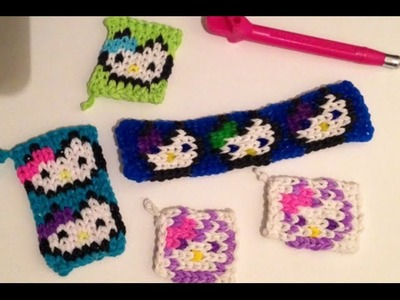 Hello Kitty Mini Mural Charm Bag Tag or Bracelet Rainbow Loom Tutorial