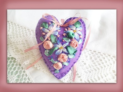 How to embroider a silk ribbon flower felt heart