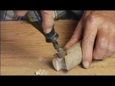 How to Make a Wood Walking Cane : Using Rotary Tool to Smooth Walking Cane Handle