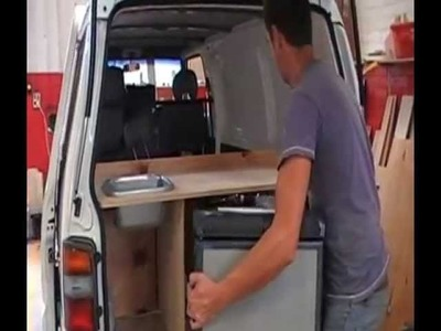 Part 2 - building campervan conversion Australia kitchen & fridge for sale or hire