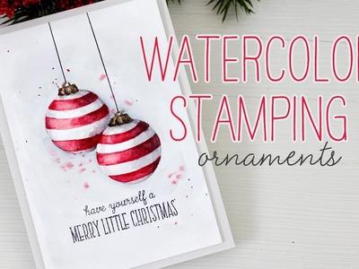 Watercolor Stamping: Christmas Ornaments