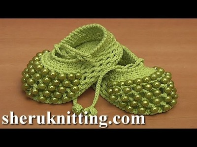 Beaded Crochet Baby Shoes With Crochet Cord Straps Tutorial 81 Part 2 of 2