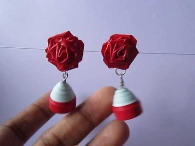 Handmade Jewelry - Quilling Jhumka (Blu &  Maroon)