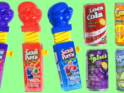 Kidsmania Sucker Punch and Soda Can Candy with Cherry Raspberry & Grape Lollipops!